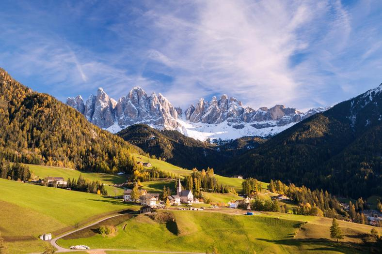 Famous view of St Magdalena town under Odle peaks in the Dolomit