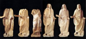 Marble statues of the Julius-Claudian cycle from the Basilica of Veleia.